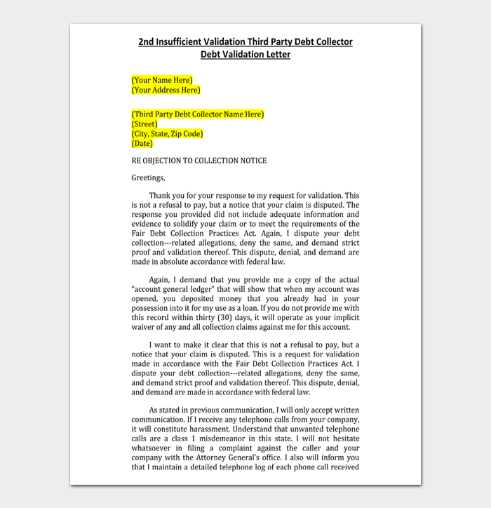 2nd Insufficient Validation Third Party Debt Collector Debt Validation Letter