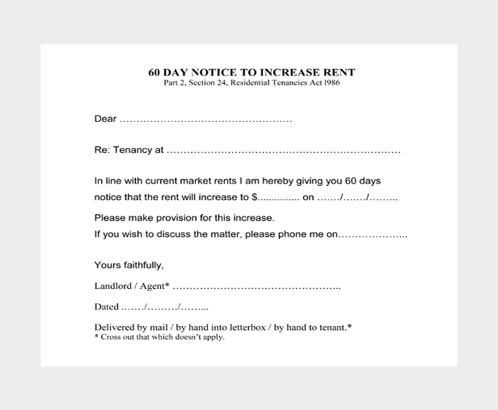 60 Day Notice to Increase Rent
