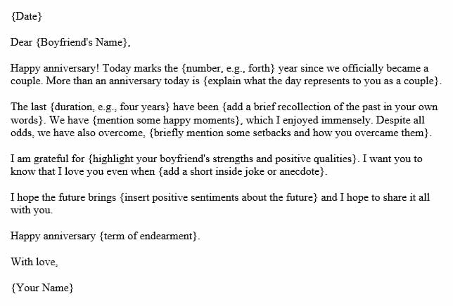 Letter for anniversary to boyfriend