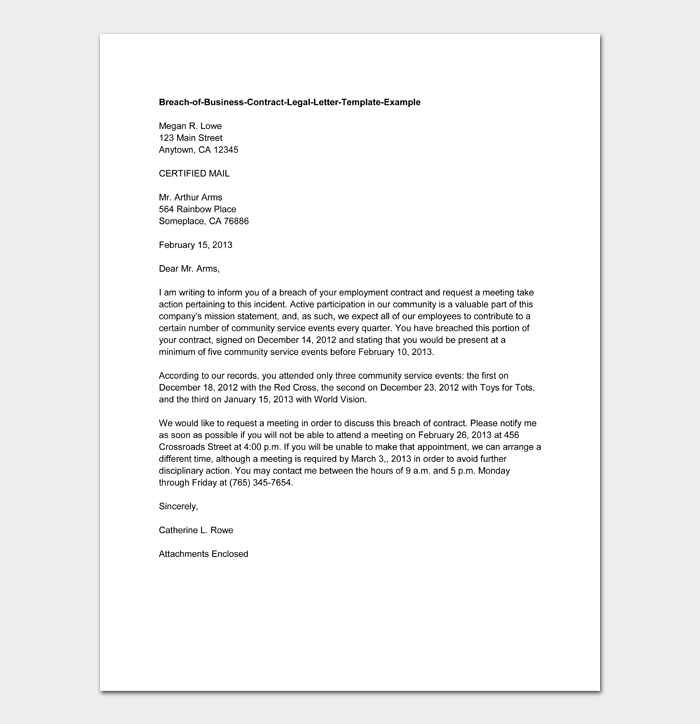 Breach of Business Contract Legal Letter Template Example