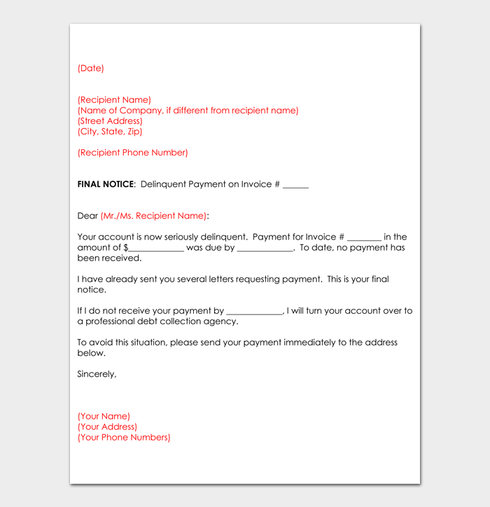 Collection Letter Examples #42