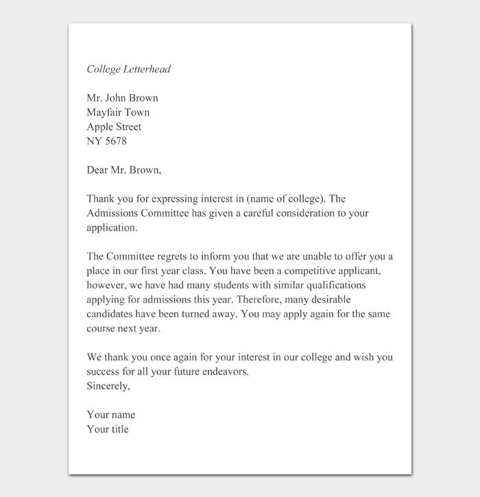 College Denial Letters #17