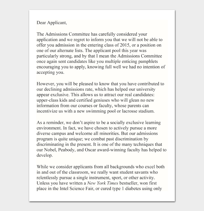 College Rejection Letter #03