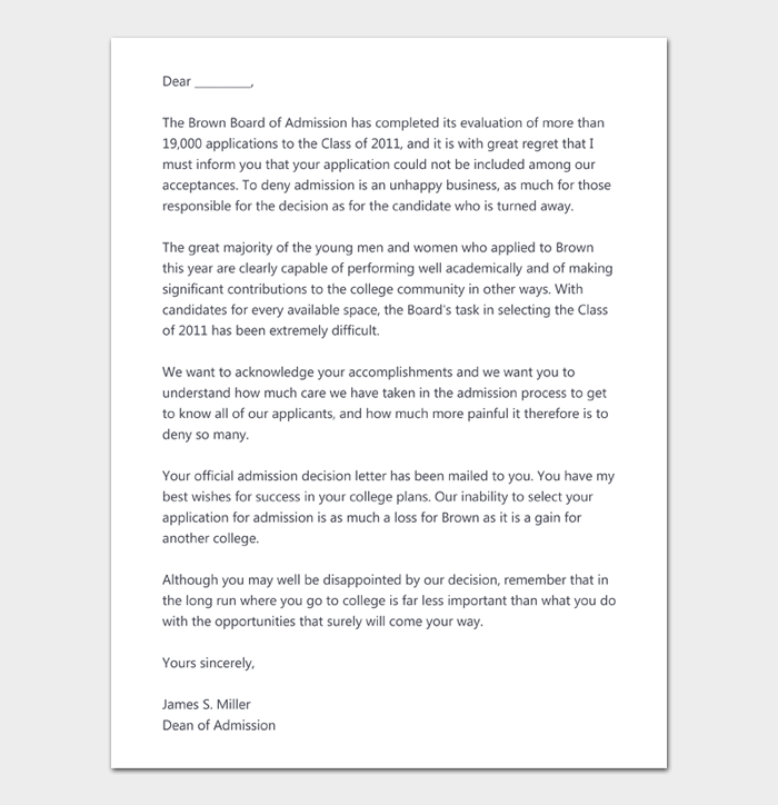 College Rejection Letter #05
