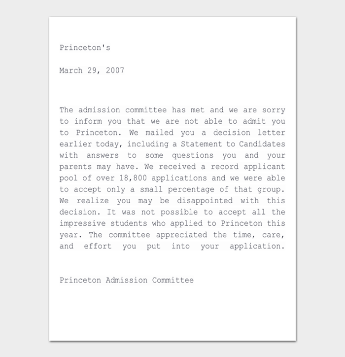 College Rejection Letter #06