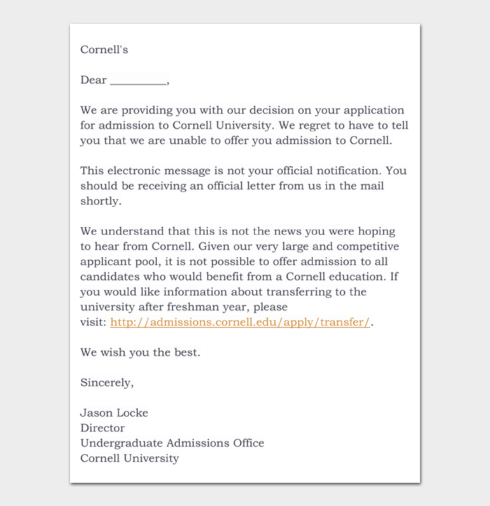 College Rejection Letter #07