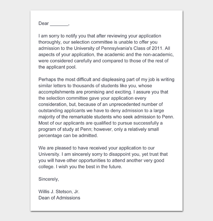 College Rejection Letter #08