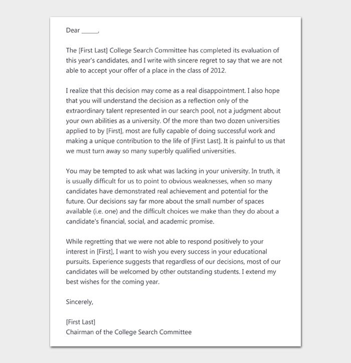 College Rejection Letter #09