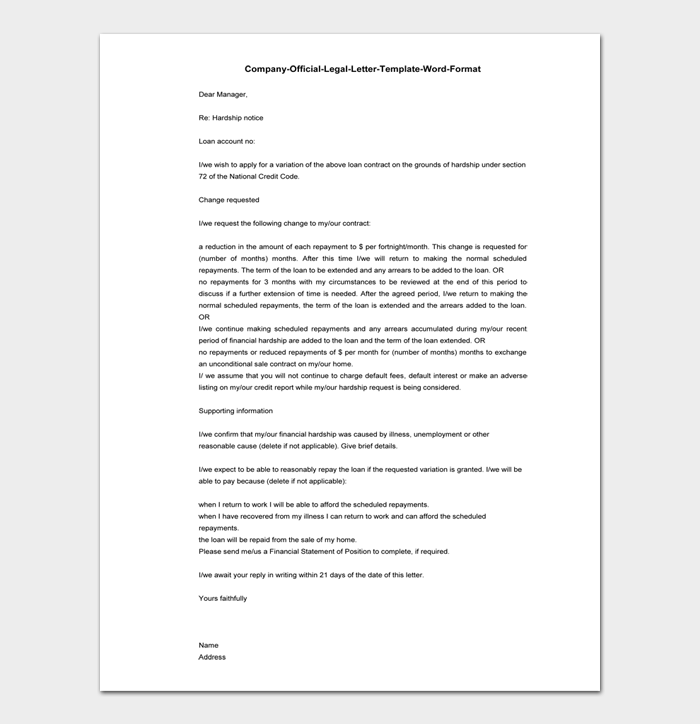 Company Official Legal Letter Template Word Format