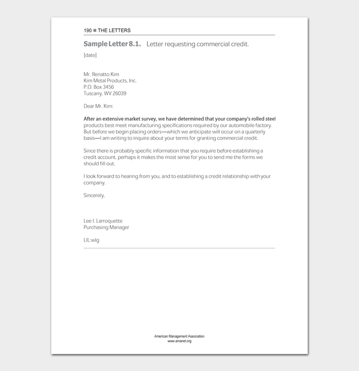 Credit and collection letters
