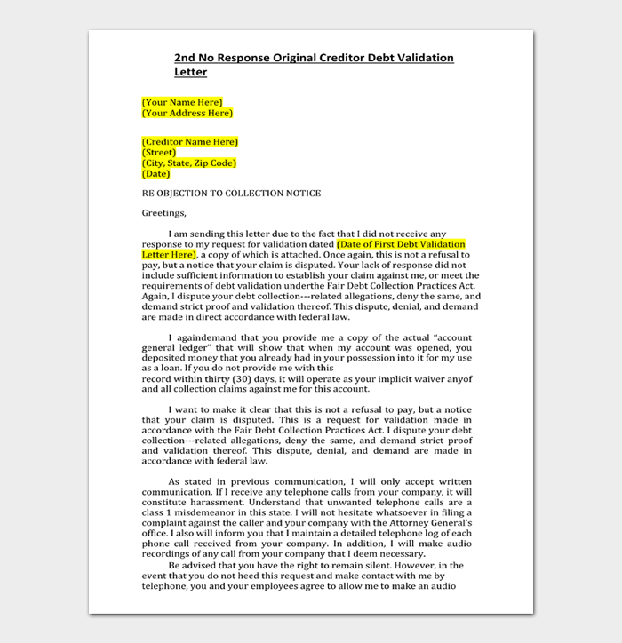 Debt validation letter #07