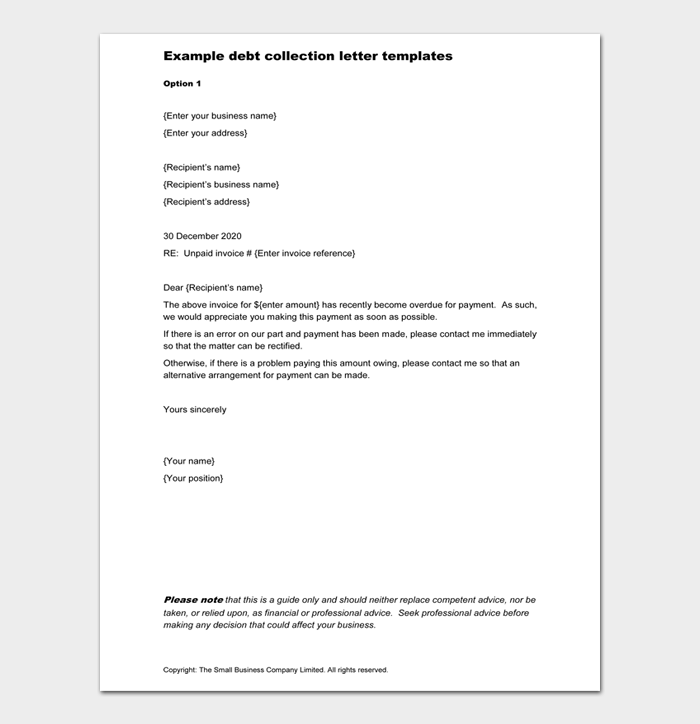 Example debt collection letter templates