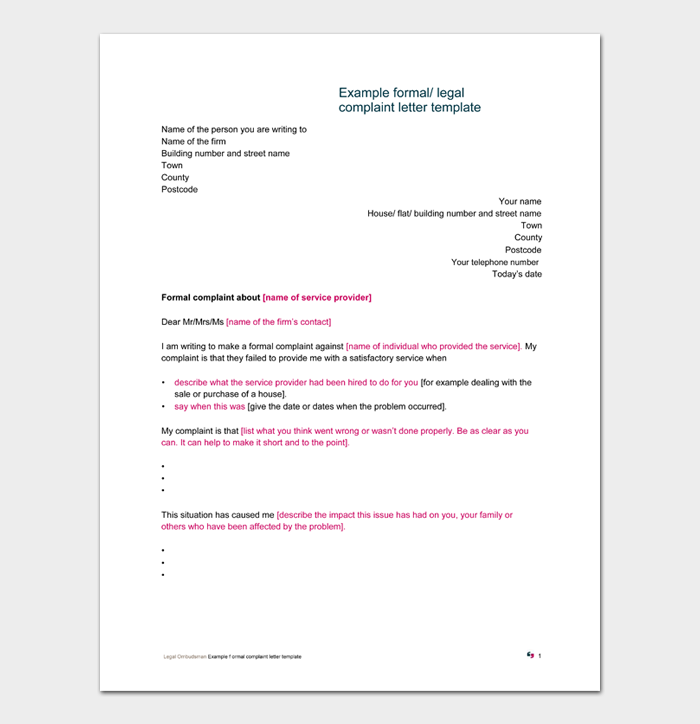 Example formal legal complaint letter template