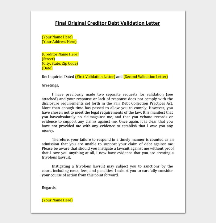 Final Original Creditor Debt Validation Letter