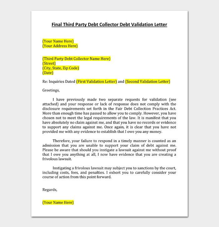 Final Third Party Debt Collector Debt Validation Letter