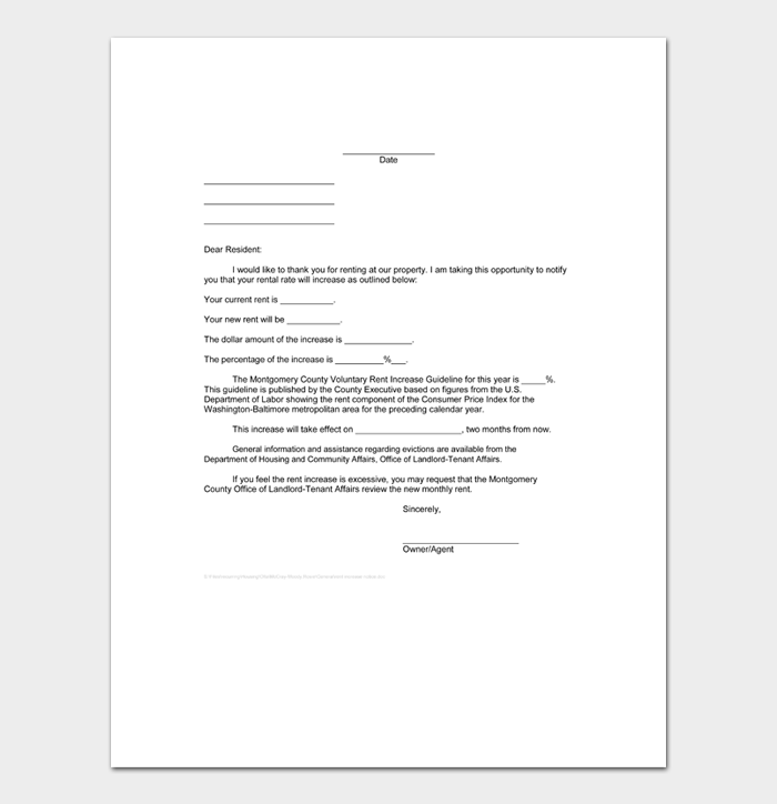 Friendly Rent Increase Letters #34