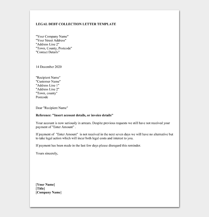 LEGAL DEBT COLLECTION LETTER TEMPLATE