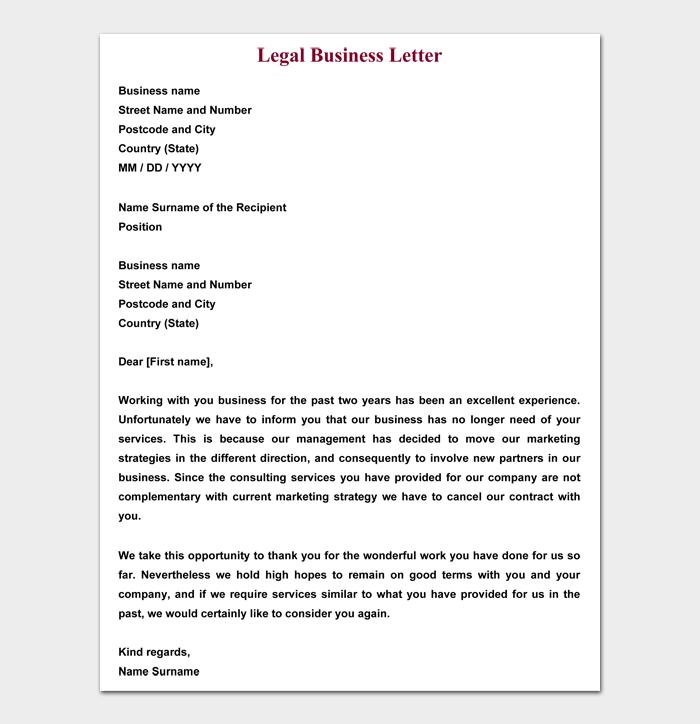 Legal Business Letter
