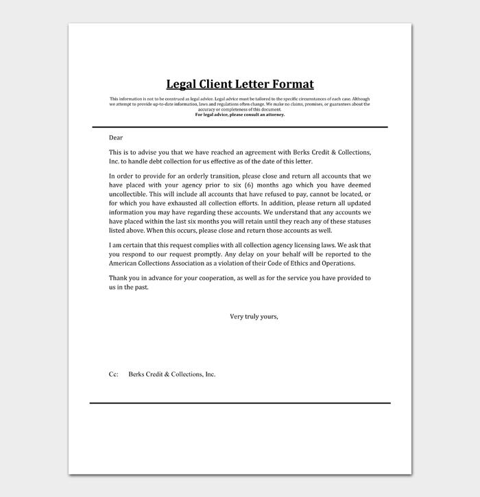 Legal Client Letter Format