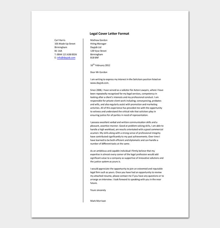 Legal Cover Letter Format