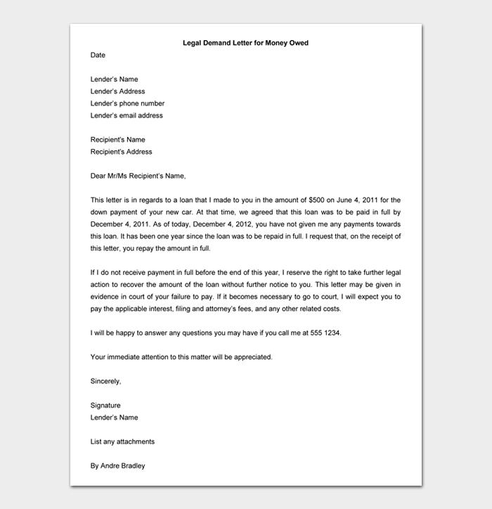 Legal Demand Letter for Money Owed