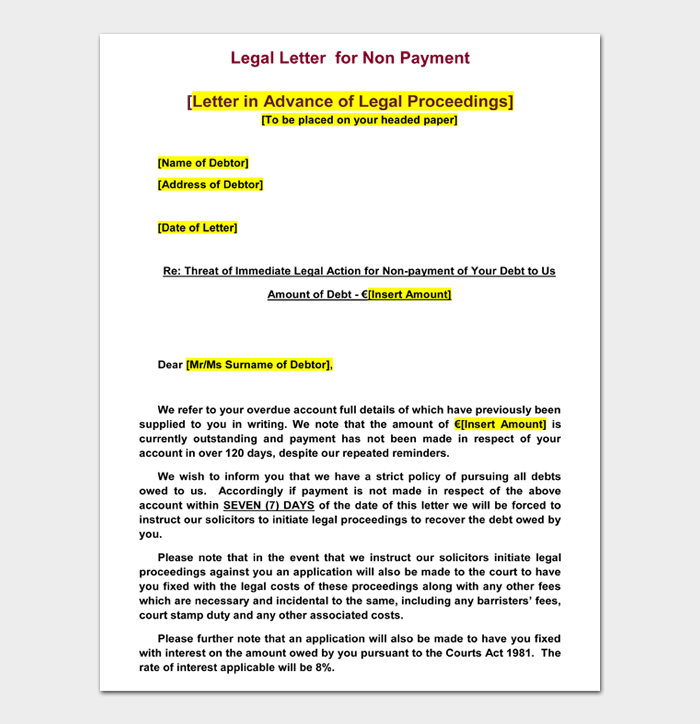 Legal Letter for Non Payment