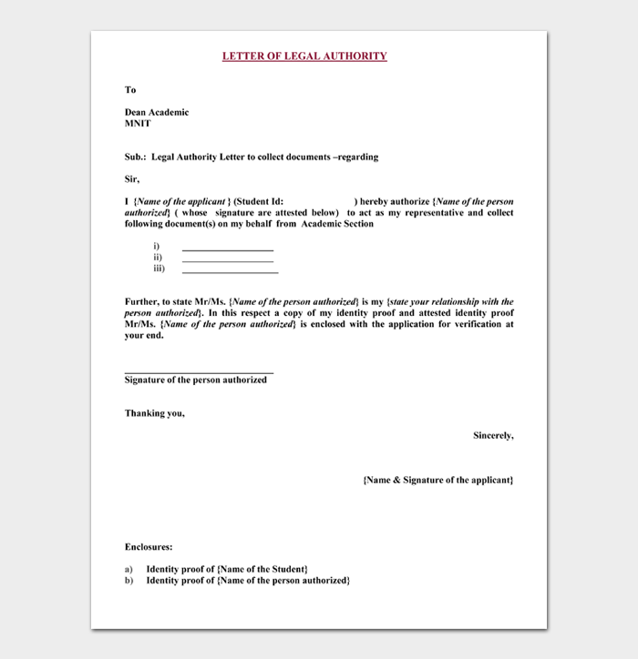 Letter of legal Authority