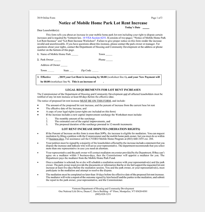 Notice of Mobile Home Park lot Rent Increase