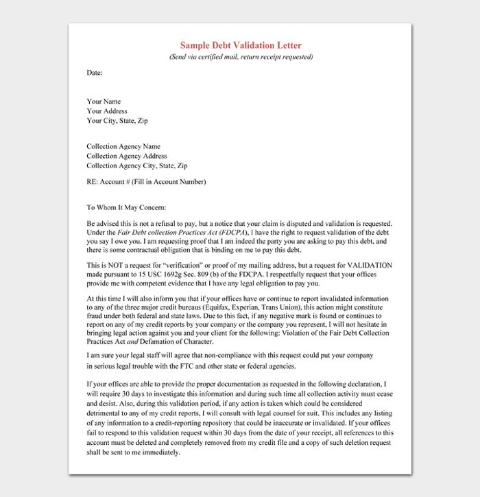 Sample Debt Validation Letter