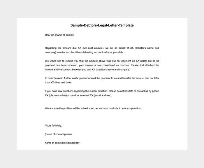 Sample Debtors Legal Letter Template