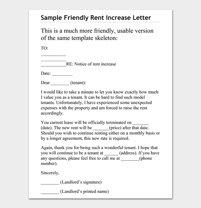 Sample Friendly Rent Increase Letter