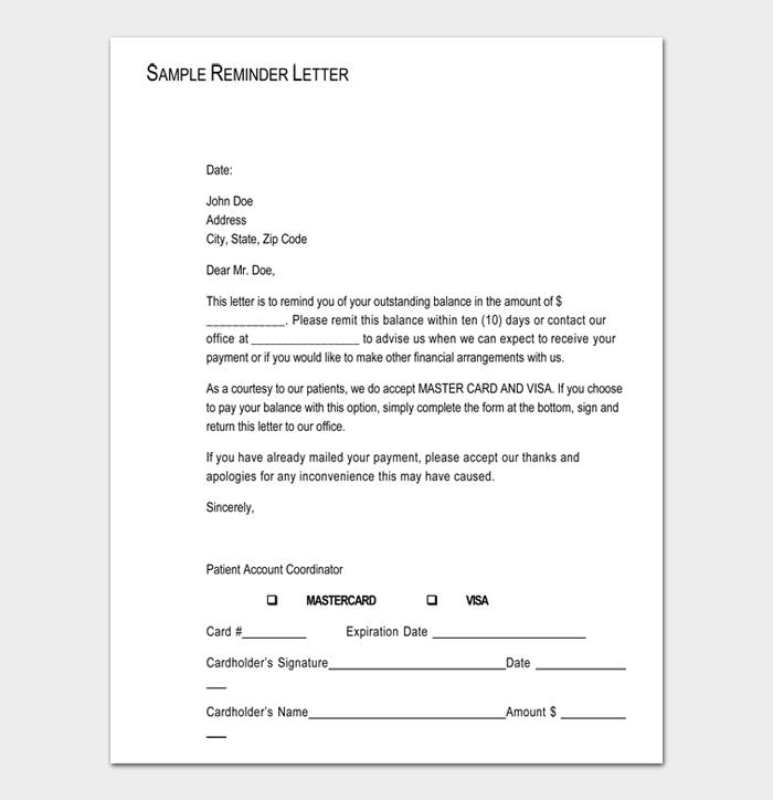 Sample Reminder Letter