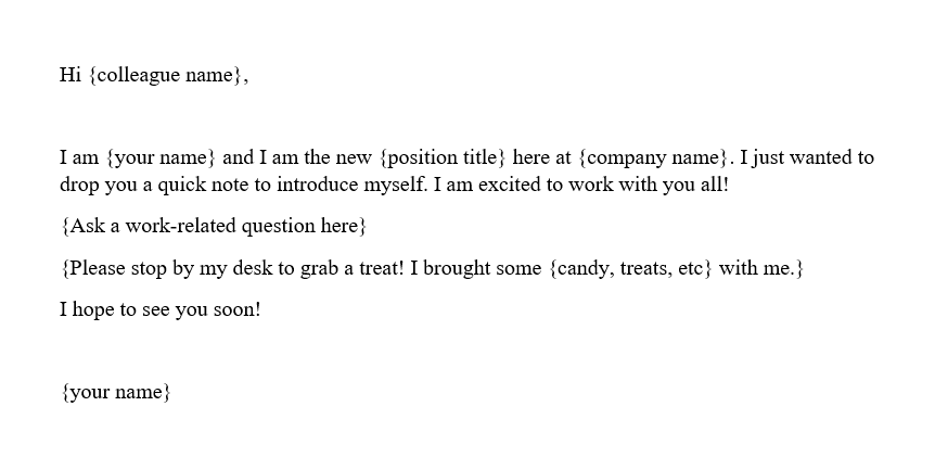 Sample introduction email new job New Employee