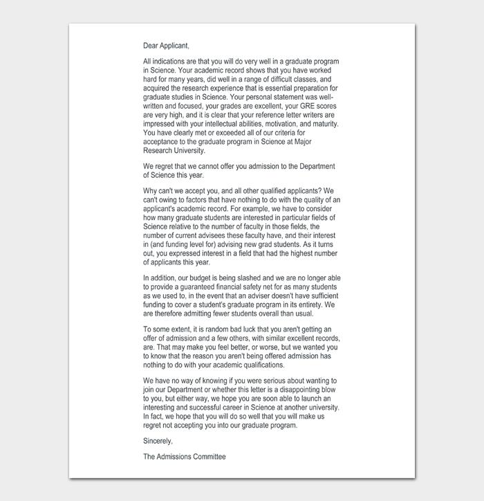University Rejection Letters #20