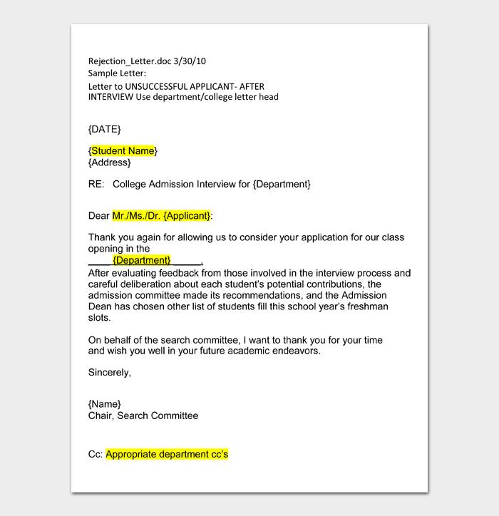 University Rejection Letters #24