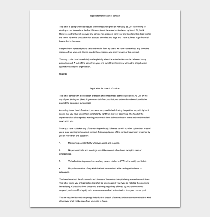 legal letter for Breach of contract