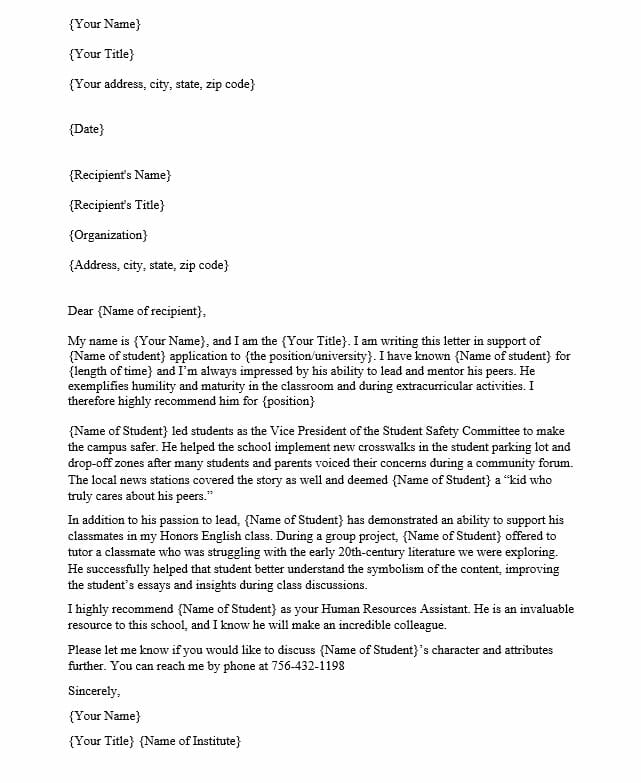Letter of Support for Student
