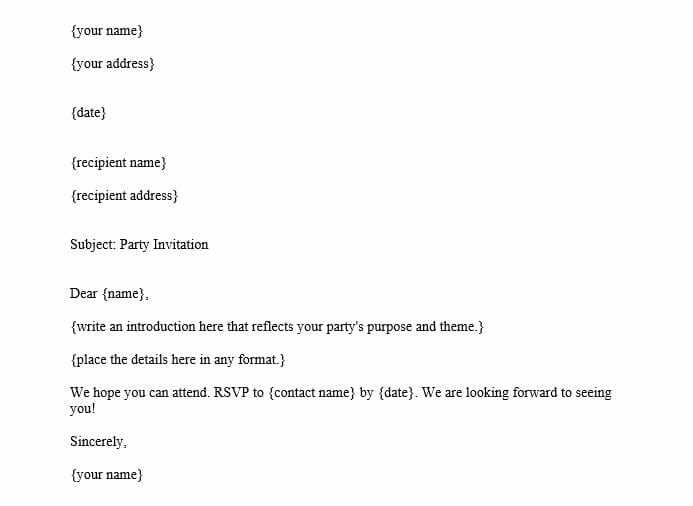 Party Invitation Letter (Word Template)