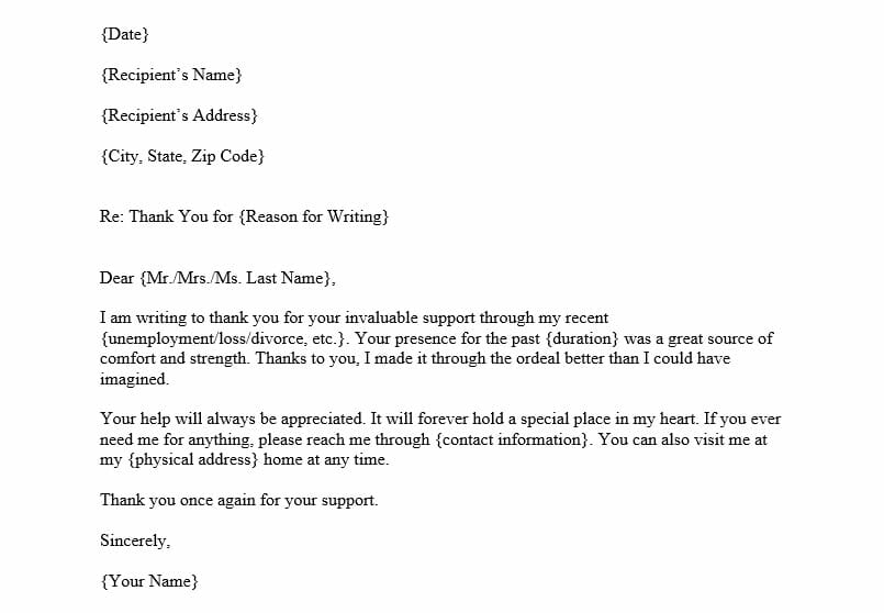 Thank You Letter for Support (Word Template)