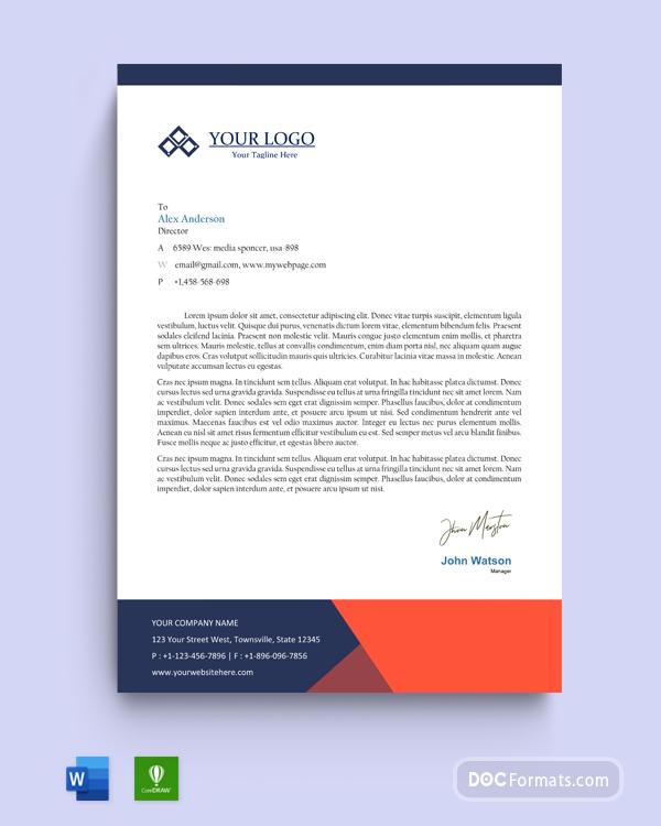 Free Blue Formal Mountain Logo Official Letterhead