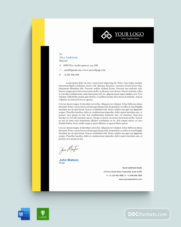 2 White with Yellow Text Bold Typographic Official Letterhead