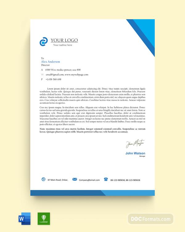 Free Blue Photo Architecture Official Letterhead