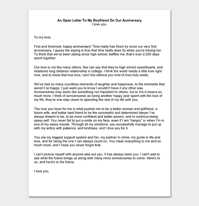 Boyfriend my a letter to romantic Heart Touching