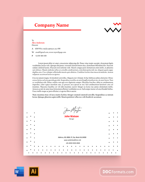 Black and Red Geometric Modern Personal Letterhead Template