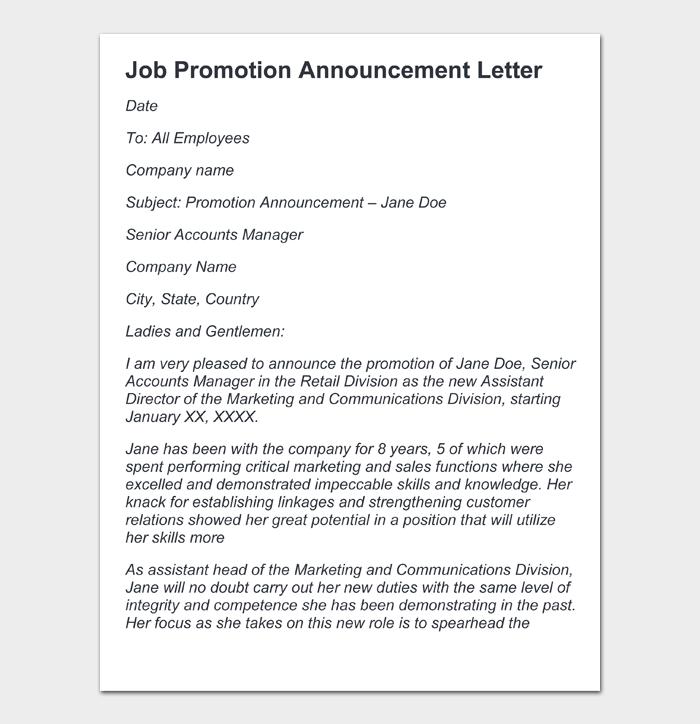 Job Promotion Announcement Letter