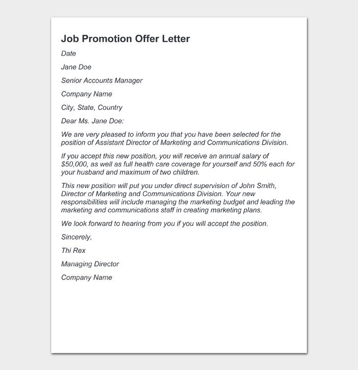 Job Promotion Offer Letter