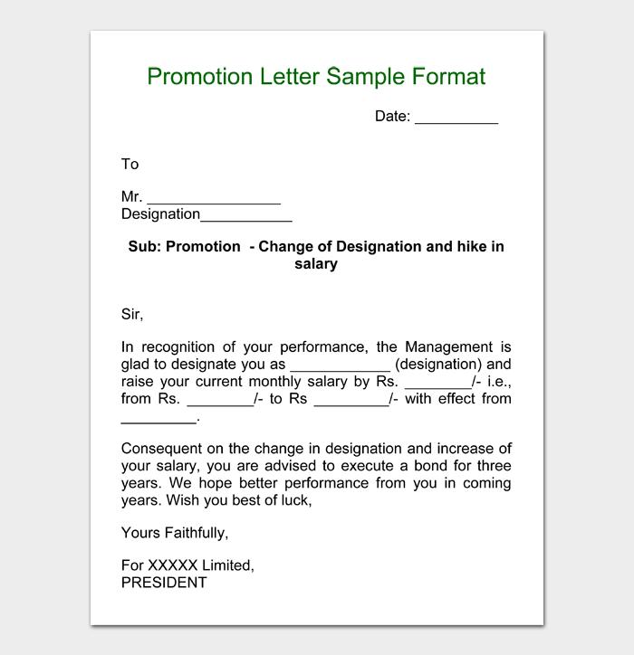 Promotion Letter Sample Format