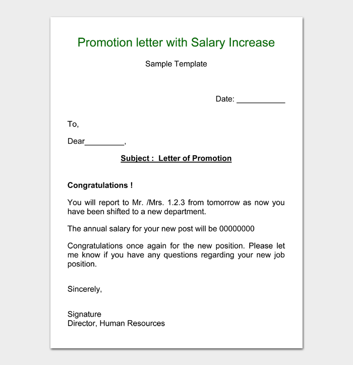 Promotion letter with Salary Increase