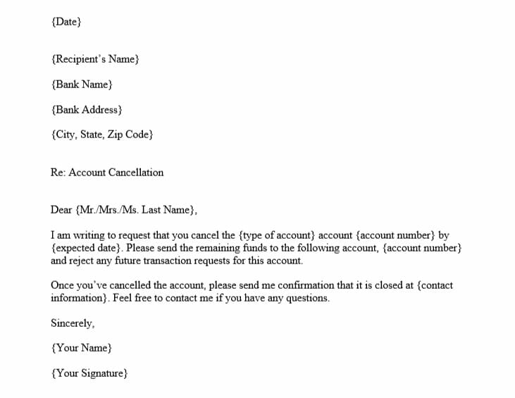Account Cancellation Letter (Word Template)