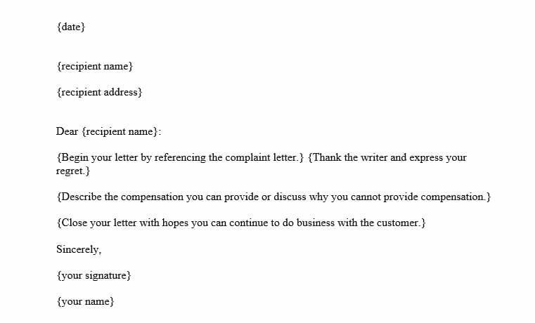 Adjustment Letter (Word Template)